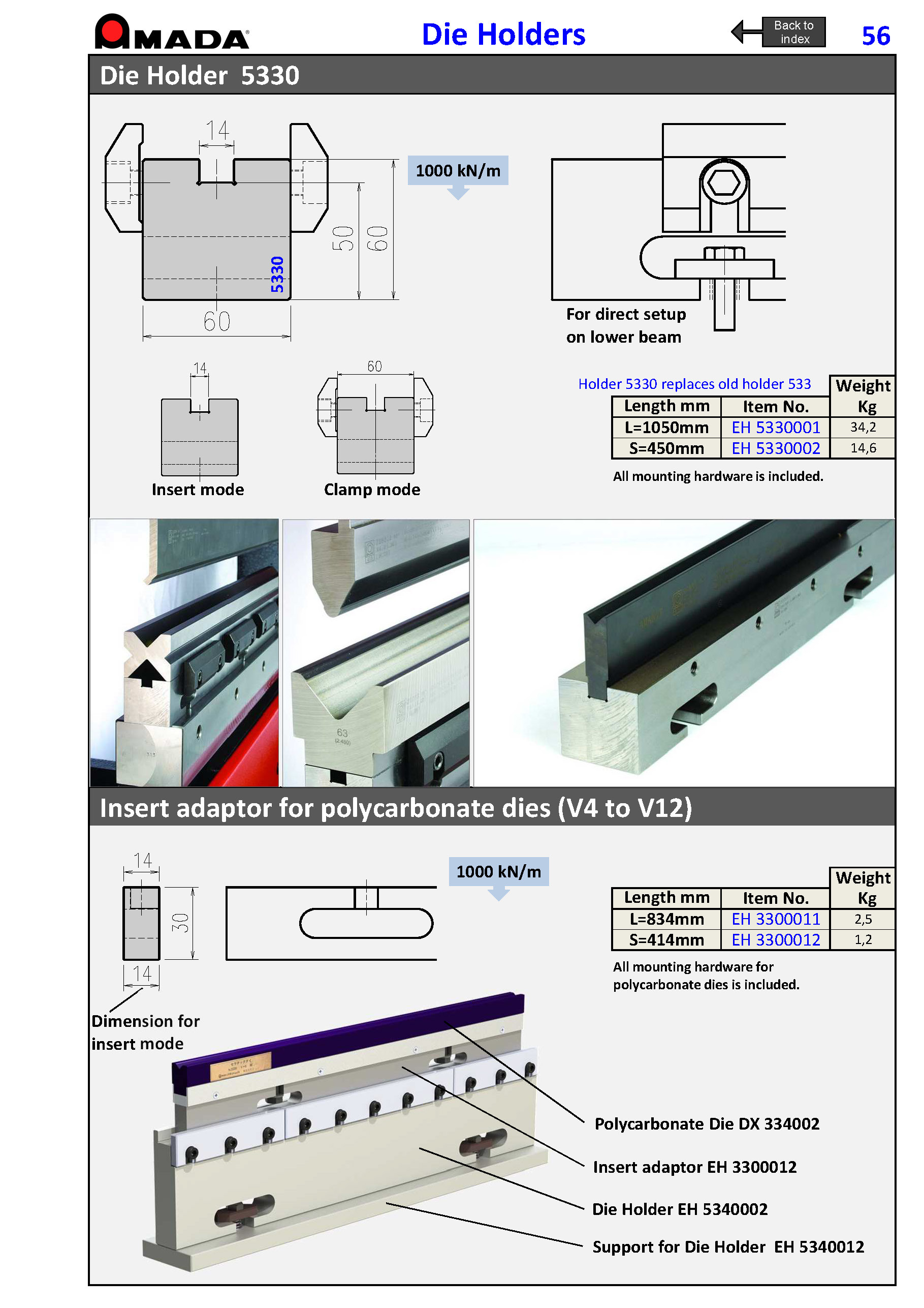 DIE HOLDER H60 (for dies with base 60) and H50 (for 1V insert dies) L1050